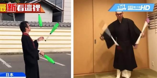 日本僧人發起名為「我可以穿僧服做這件事」的抗議活動,證明僧服的寬袖不會造成日常危險。(圖/中天新聞)