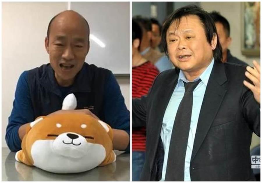 王世堅(右圖)直言,韓國瑜(左圖)很有骨氣。(韓國瑜臉書截圖、中時資料照片)