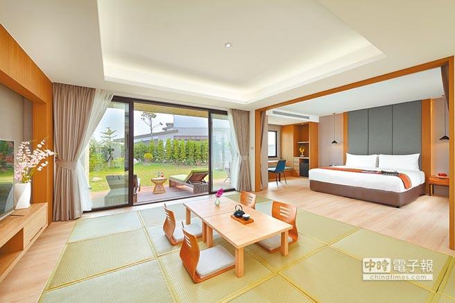 宜蘭綠舞國際觀光飯店的豪華庭園Villa。(綠舞國際觀光飯店提供)
