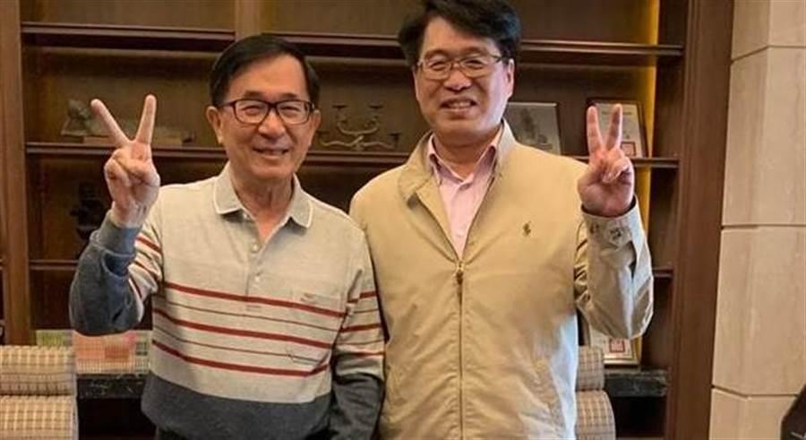 陳水扁與游盈隆合照。(圖/取自陳水扁勇哥物語臉書)