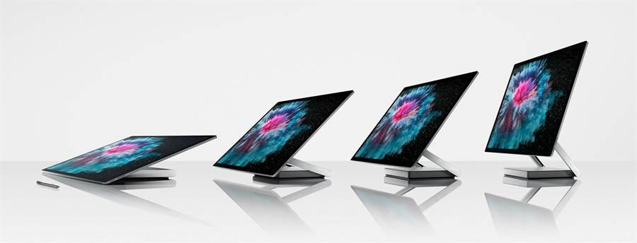 Surface Studio 2搭載新一代Pascal架構、效能提升50%的GPU 與固態硬碟。使用者將可在這個令人驚豔的28吋螢幕上盡情創作、享受沉浸式體驗。(圖/微軟提供)