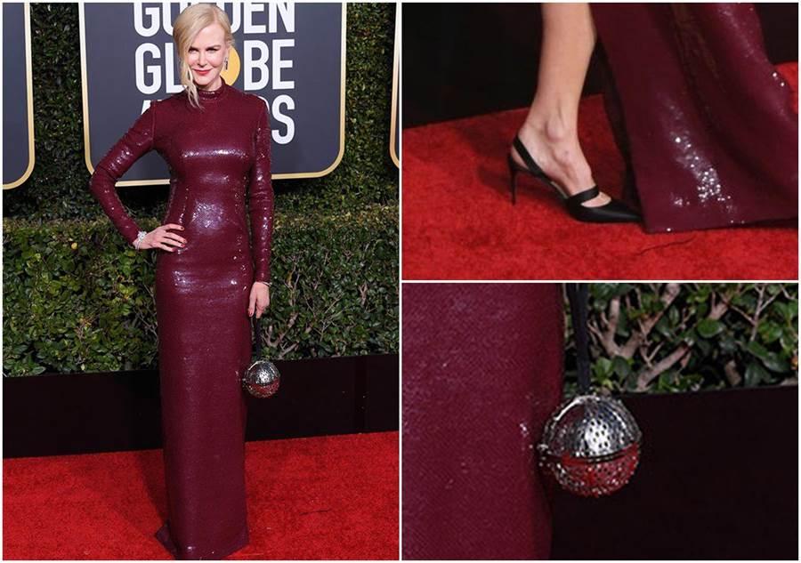 妮可•基嫚(Nicole Kidman) 穿著Michael Kors Collection訂製款暗紅色亮片禮服,手持MOYNAT特製版Minaudiere縷空圓球金屬手拿包,搭配Actina黑色緞面高跟鞋展現優雅風格。