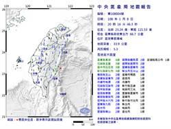 20:16台東外海發生規模5.3地震 台東長濱震度4級最大