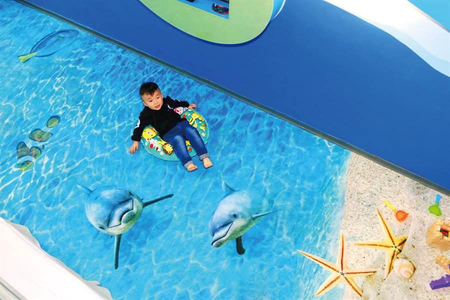 統一墾丁海洋體驗樂園的海洋親子主題房可拍有趣的創意照。(統一渡假村提供)