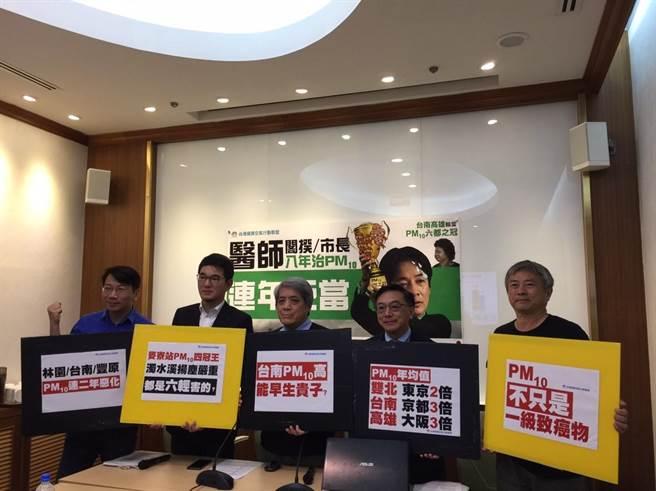 環團指出,台灣懸浮微粒平均值落後日本40年,環團和立委轟政府治理不力。(台灣健康空氣行動聯盟提供)
