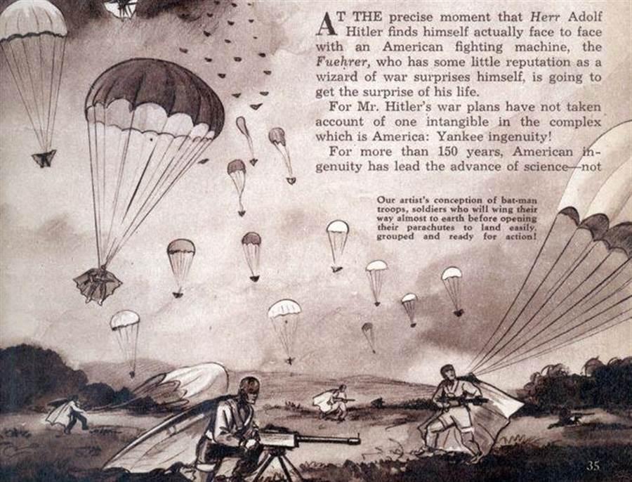 馬爾康.威勒-尼克森少校所寫的「聰明洋基對決希特勒」論文,提到他對傘兵滑翔裝的設想。(圖/Yankee Ingenuity Vs. Hitler!)