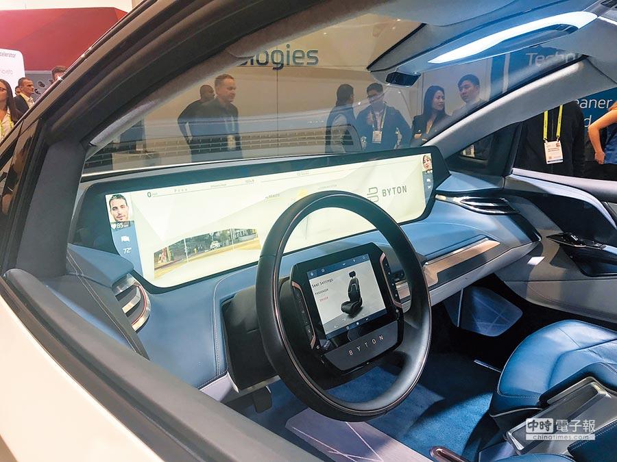 中國電動車新創業者拜騰的駕駛艙,搭載47吋螢幕。圖文/吳筱雯