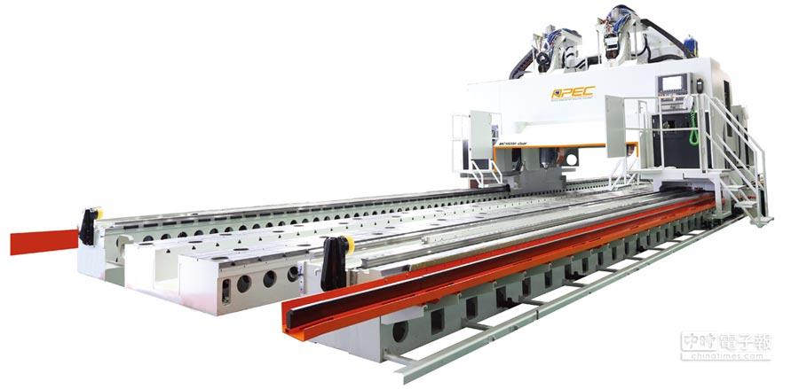 亞太菁英研發上市的MC18/200雙五軸動柱式超長行程高速龍門加工機。圖/業者提供