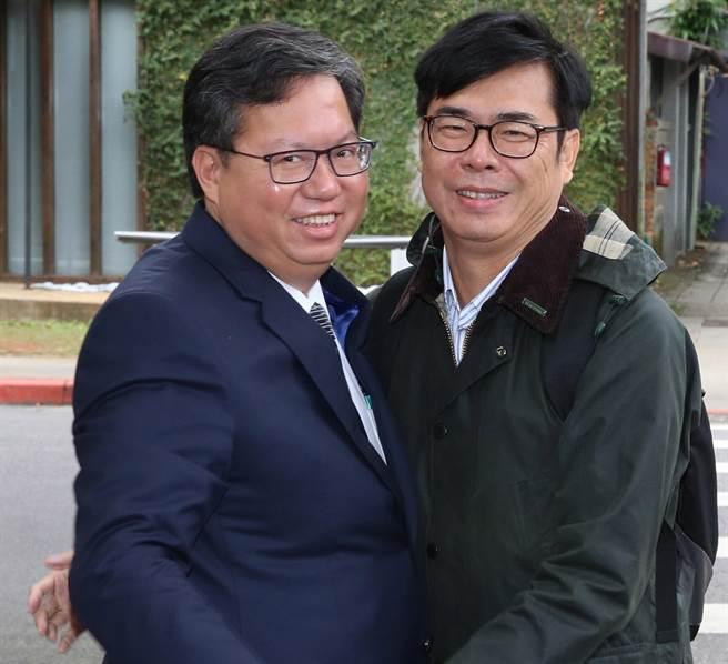 桃園市長鄭文燦(左)、前民進黨立委陳其邁(右)。(圖/本報資料照,陳君瑋攝)