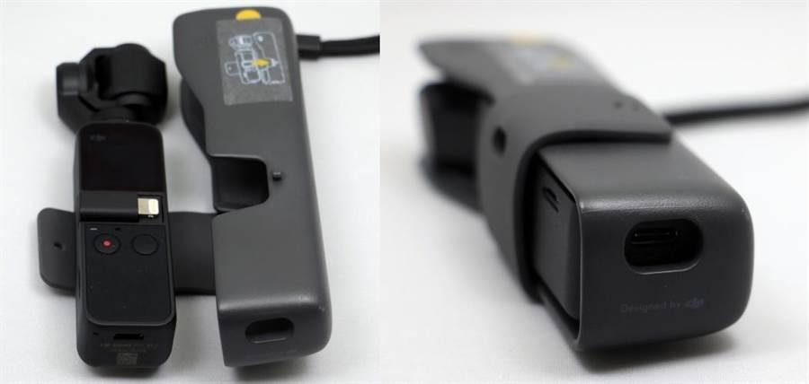 OSMO Pocket安裝手機轉接器的情況下,也可順利放入保護套。不用從保護套拿出來,就可充電。(圖/黃慧雯攝)