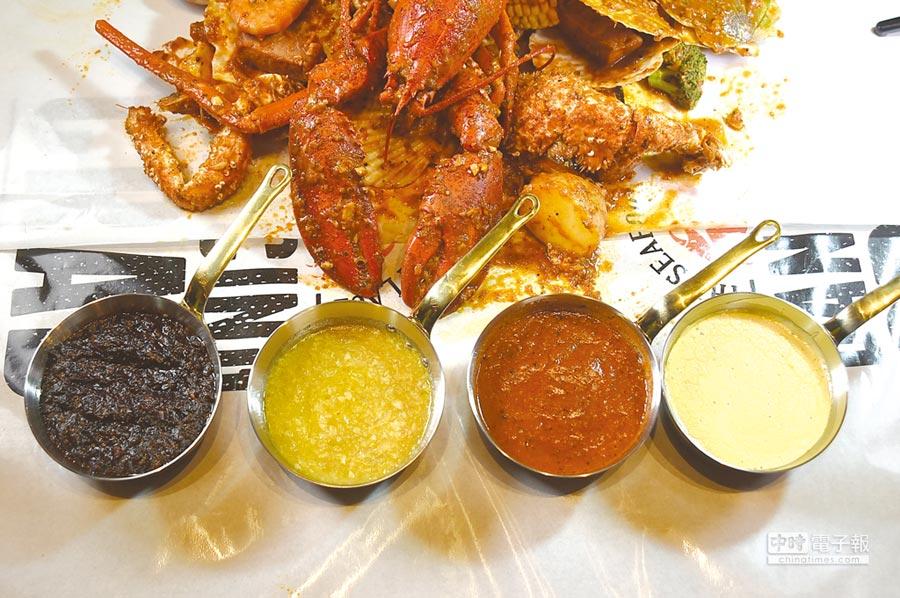 在微風南山antre百貨〈Dancing Crab蟹舞〉餐廳享用手抓海鮮,有黑胡椒醬、檸檬蒜香醬、蟹舞招牌辣醬,以及起司奶油醬等多種醬汁可以選擇。圖/姚舜