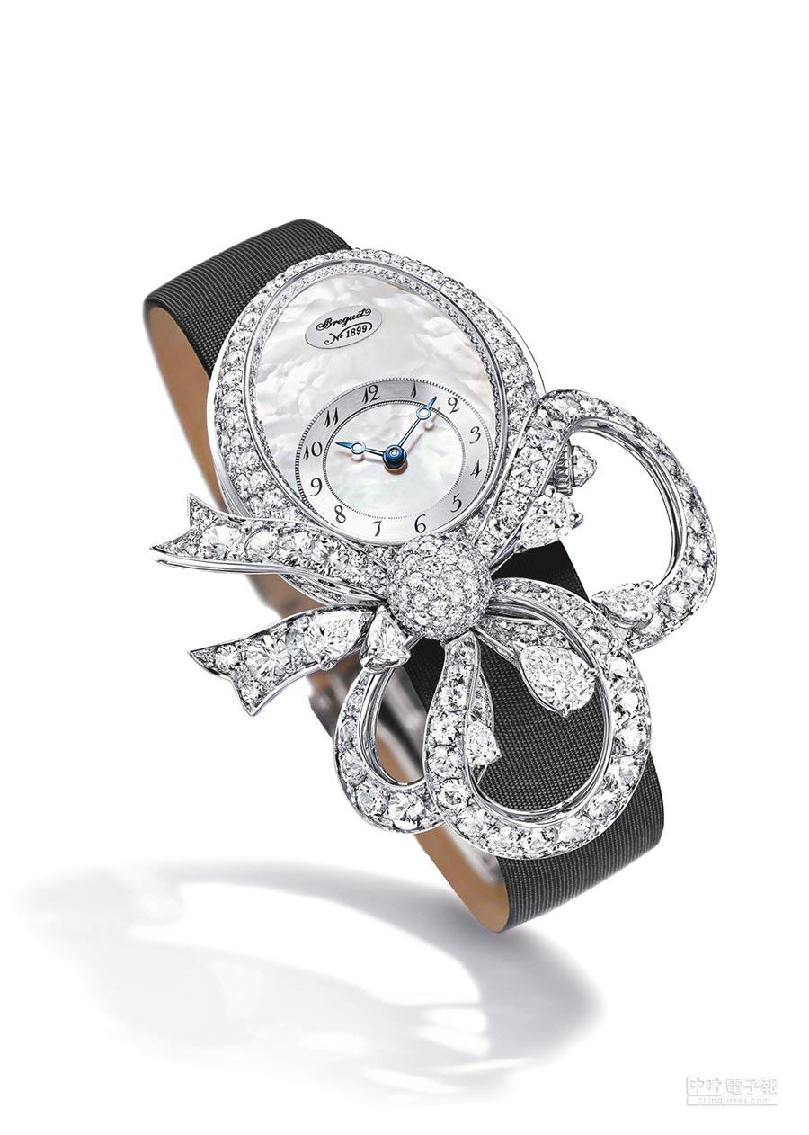 寶璣Les Jardins du Petit Trianon–Les Glycines紫藤花訂製珠寶腕表,528萬5000元。(Breguet提供)