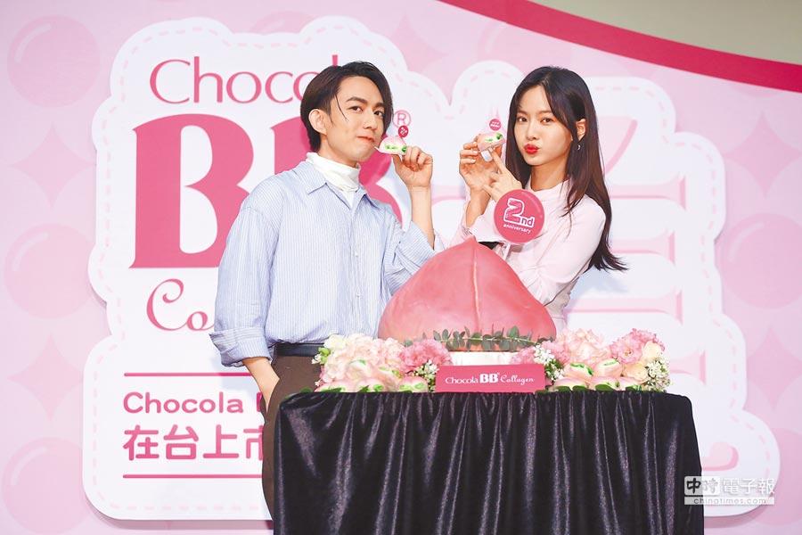 林宥嘉(左)昨帶著壽桃出席曾之喬的代言活動,慶祝品牌周年。
