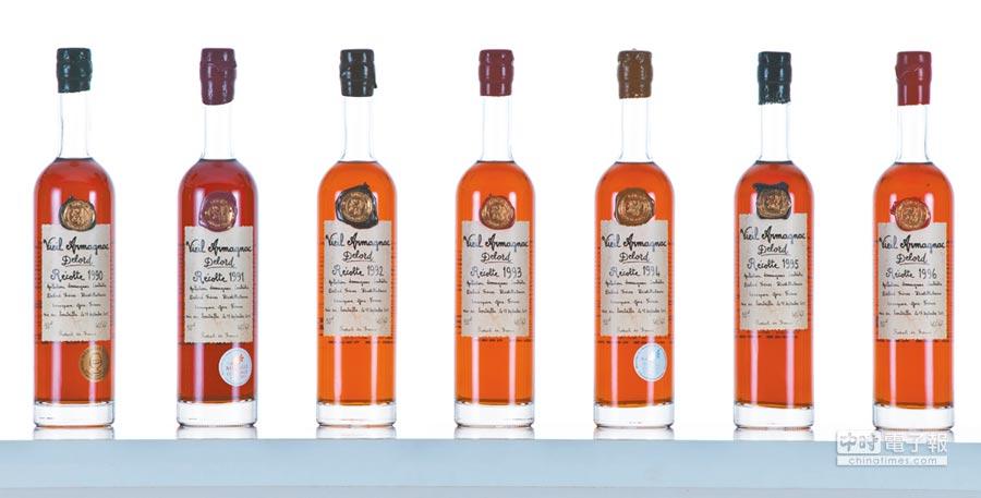 從1893年運作至今的Delord是當紅的雅馬邑品牌,從20世紀初累積至今的珍貴年分陳酒,是酒廠最自豪之處。圖片提供各品牌