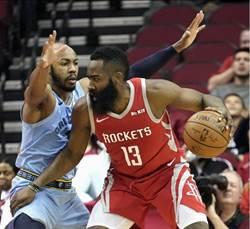 NBA》哈登霸氣57分本季新高 火箭獵殺灰熊止敗
