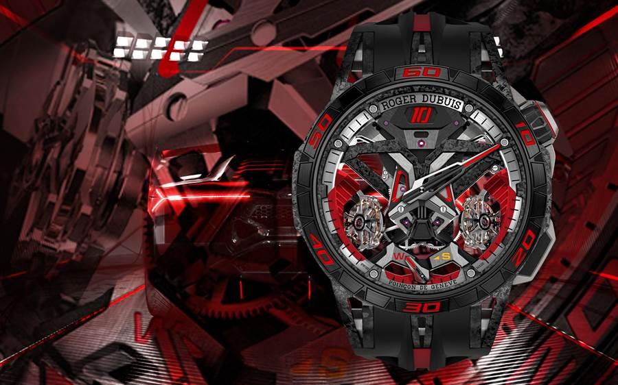 羅杰杜彼與藍寶堅尼跑車攜手在SIHH發表ExcaliburOne-Off腕表,要價3300萬,當場就被新加坡富商買走。(RogerDubuis提供)