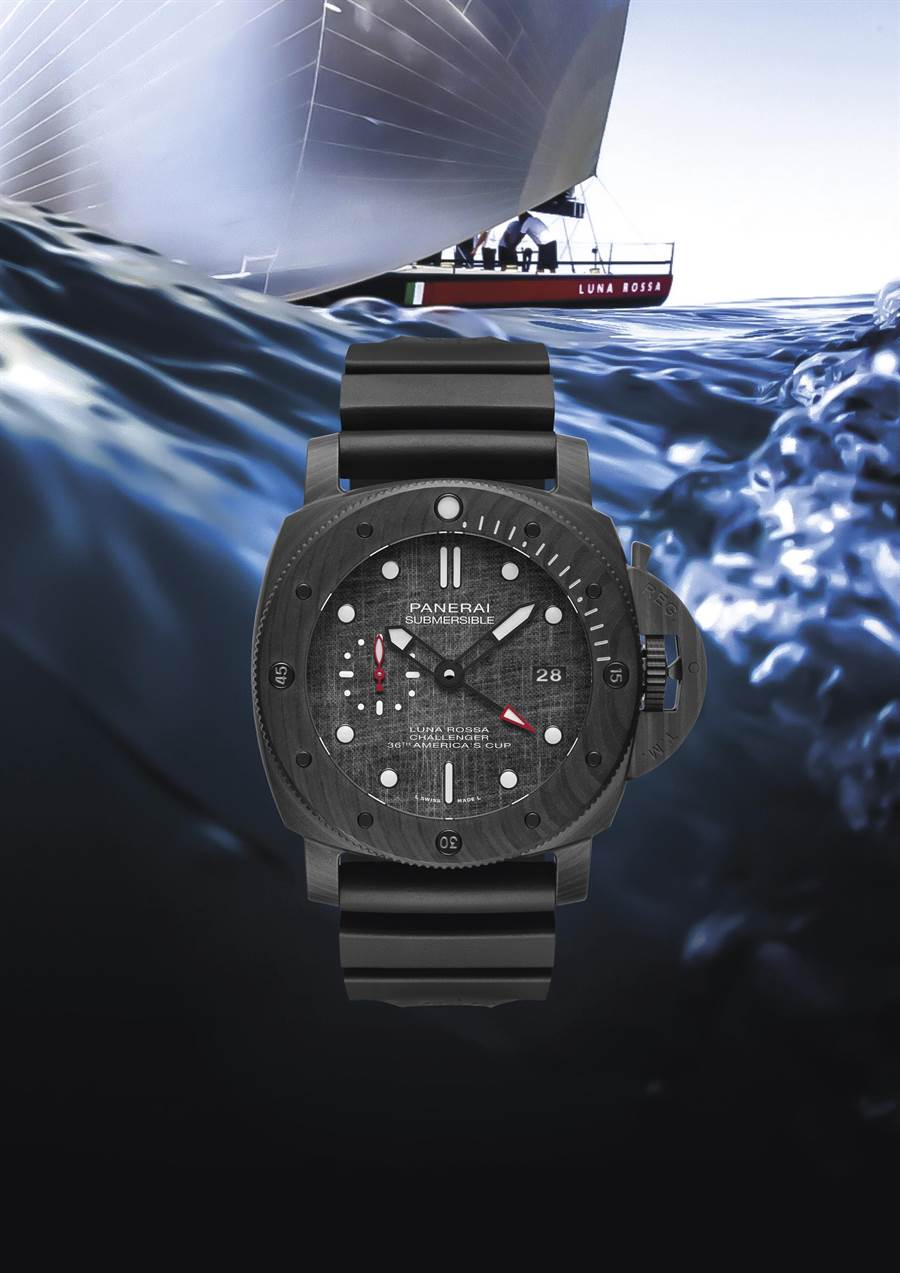 沛納海贊助義大利帆船隊LunaRossa,與PRADA攜手合作聯名SubmersibleLunaRossa腕表,售價66萬3000元。(PANERAI提供)