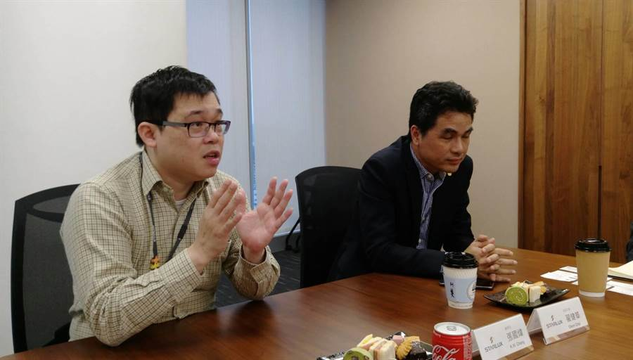 星宇航空董事長張國煒(左)與總經理翟健華(右)談星宇籌備進度。圖:張佩芬