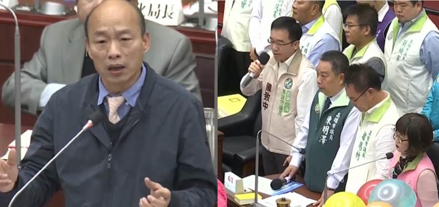 高雄市長韓國瑜(左)、今率小內閣接受高雄民進黨團(右)質詢。(圖/合成圖,取自網路直播)