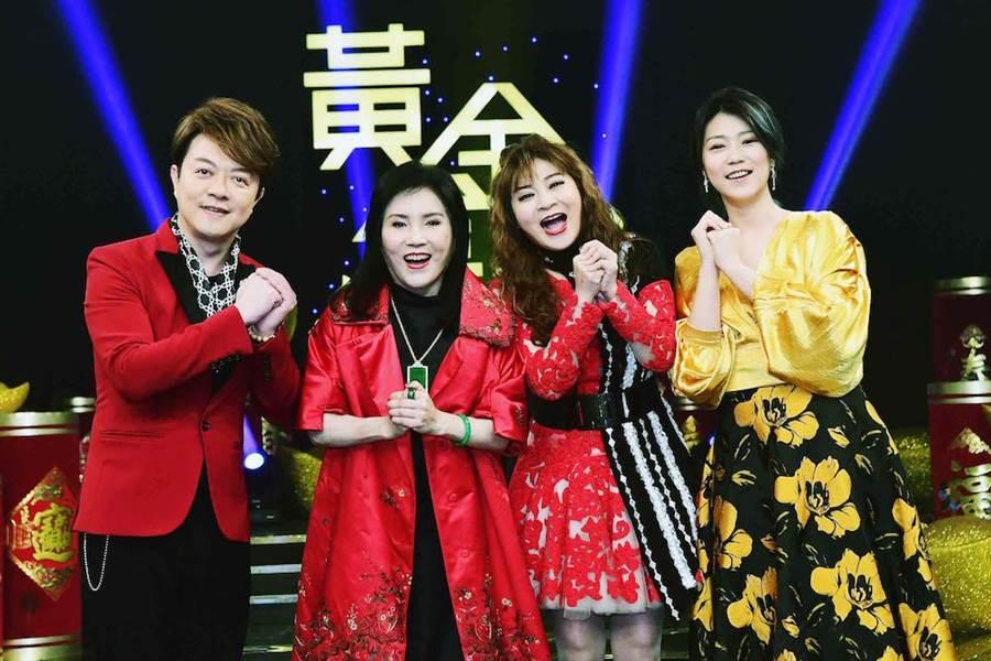 翁立友(左起)、李亞萍、王彩樺、曹雅雯進棚錄製《黃金年代》。(圖片提供:華視)