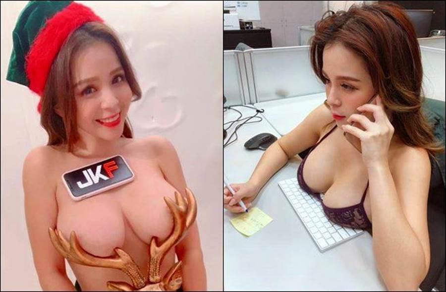 陳香菱自色情直播新聞爆出後,人氣高漲再曬出奶壓鍵盤照。(圖/翻攝自陳香菱臉書)