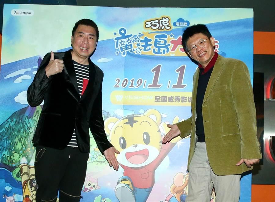 梁赫群(左)跟導演謝念祖也在電影《瘋狂電視台瘋電影》合作。(粘耿豪攝)