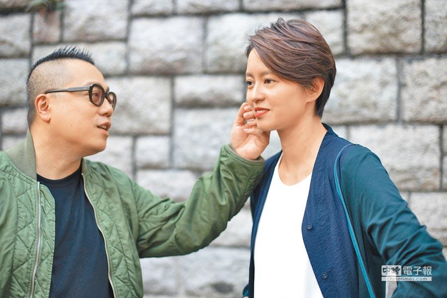 導演彭浩翔(左)飾演梁詠琪前男友。