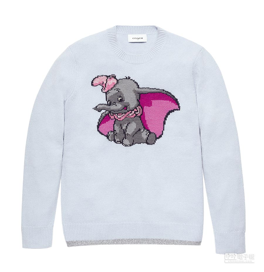 COACH x 迪士尼聯名系列小飛象圖案針織衫,1萬6800元。(COACH提供)