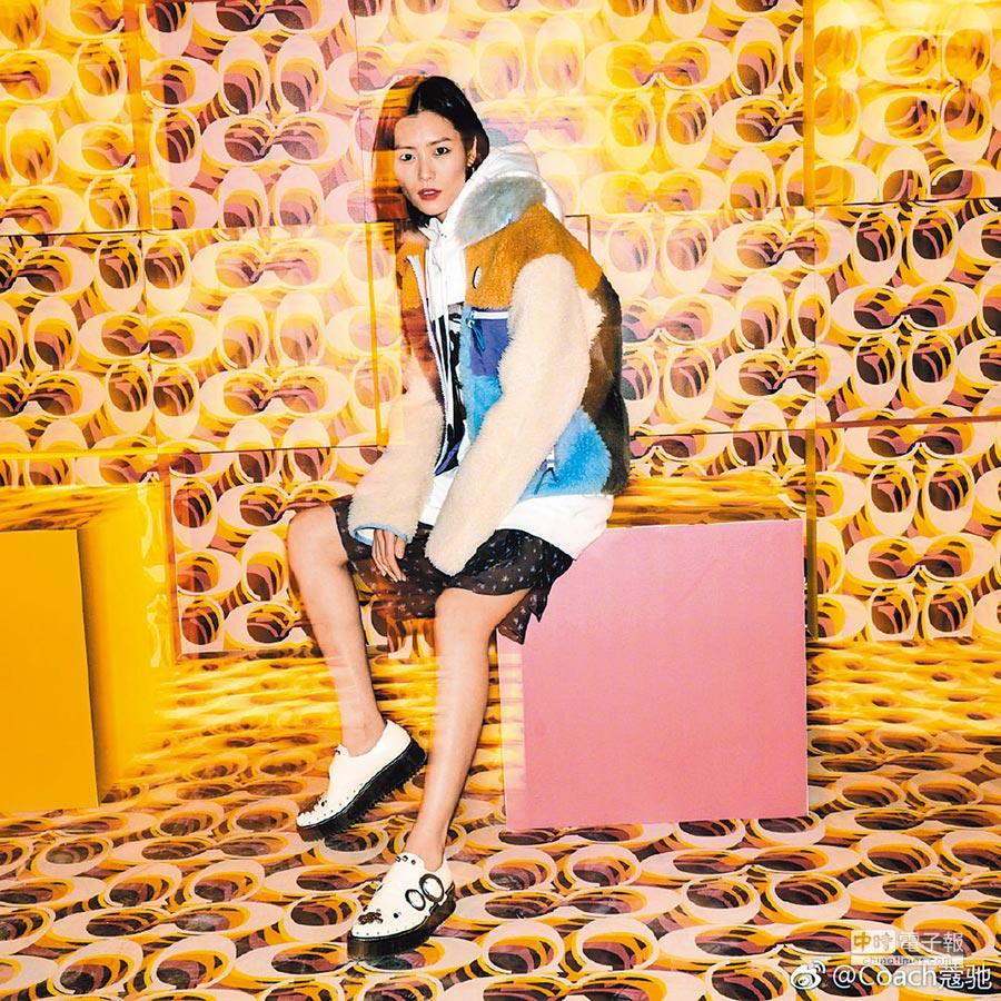 名模劉雯日前於COACH上海2019早秋大秀上,即選穿具有「都會登山」風格的春夏造型現身,穿COACH色塊拼接翻毛外套7萬8800元。(翻攝自COACH微博官方帳號)