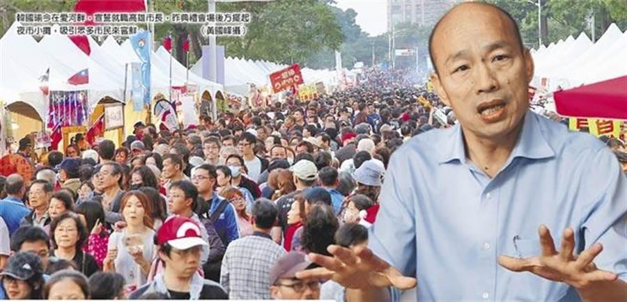 韓流威力無法擋!韓國瑜就職高雄市長,典禮會場後方擺起夜市小攤,吸引眾多市民來嘗鮮,他也成功吸引外地人潮進來高雄住宿觀光。(資料照片 黃國峰攝)