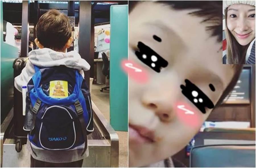 隋棠曬出兒子在機場的背影照,Max背包有一張大大的佛像貼紙,相當吸睛。(圖/取材自隋棠 Sonia Sui臉書)
