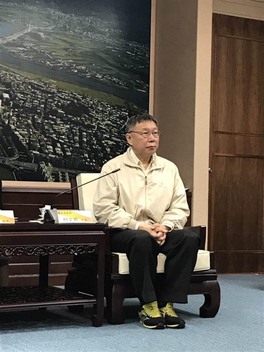 台北市長柯文哲今下午接受媒體訪問。(張潼攝)