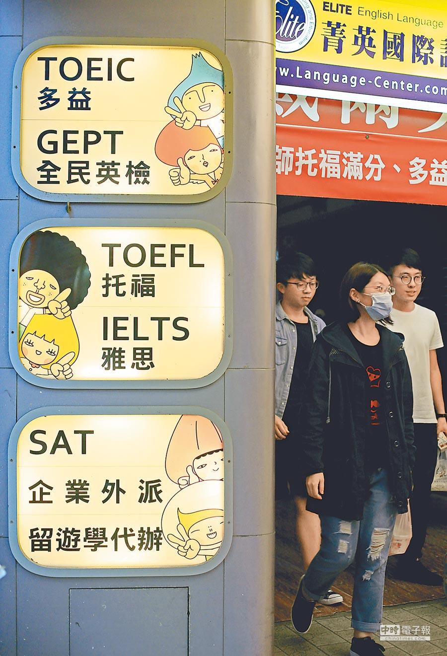 台灣產業招新進員工,對英語能力要求平均在多益582分,但2017年台灣大學生多益平均只有514分,英語能力與企業需求有明顯落差。(本報資料照片)