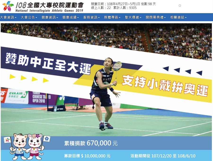 中正大學發起「贊助中正全大運‧支持小戴拚奧運」小額募款計畫,至19日下午2時已累積新台幣67萬元。(網路截圖)