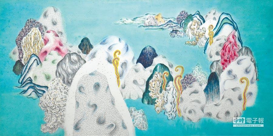 袁慧莉的山石化為鏡面,折射繽紛多彩的情感。(多納藝術提供)