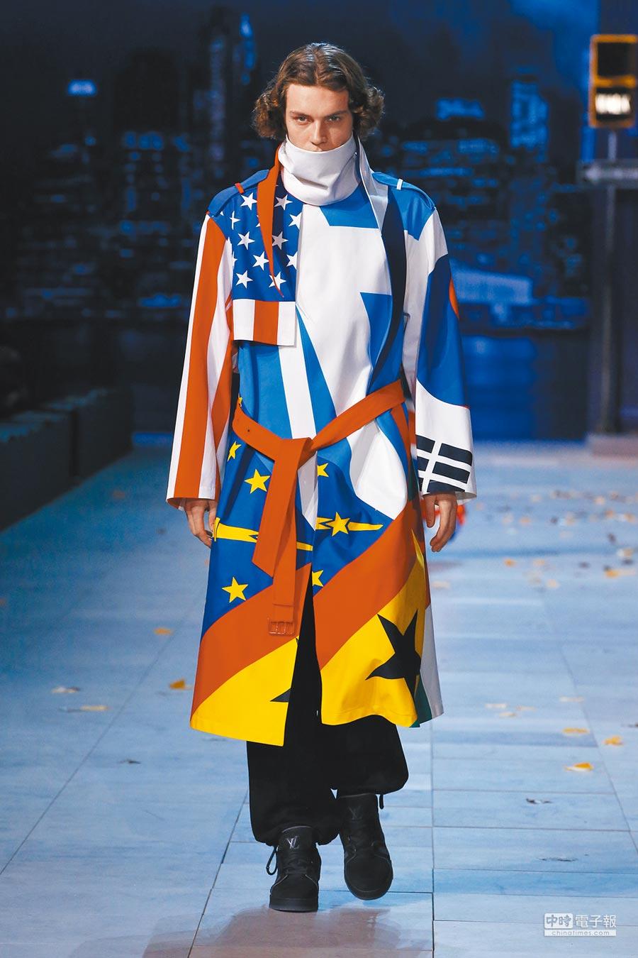 由不同國家國旗圖案拼貼而成的大衣,蘊藏了全球共融的美好願景。(LV提供)