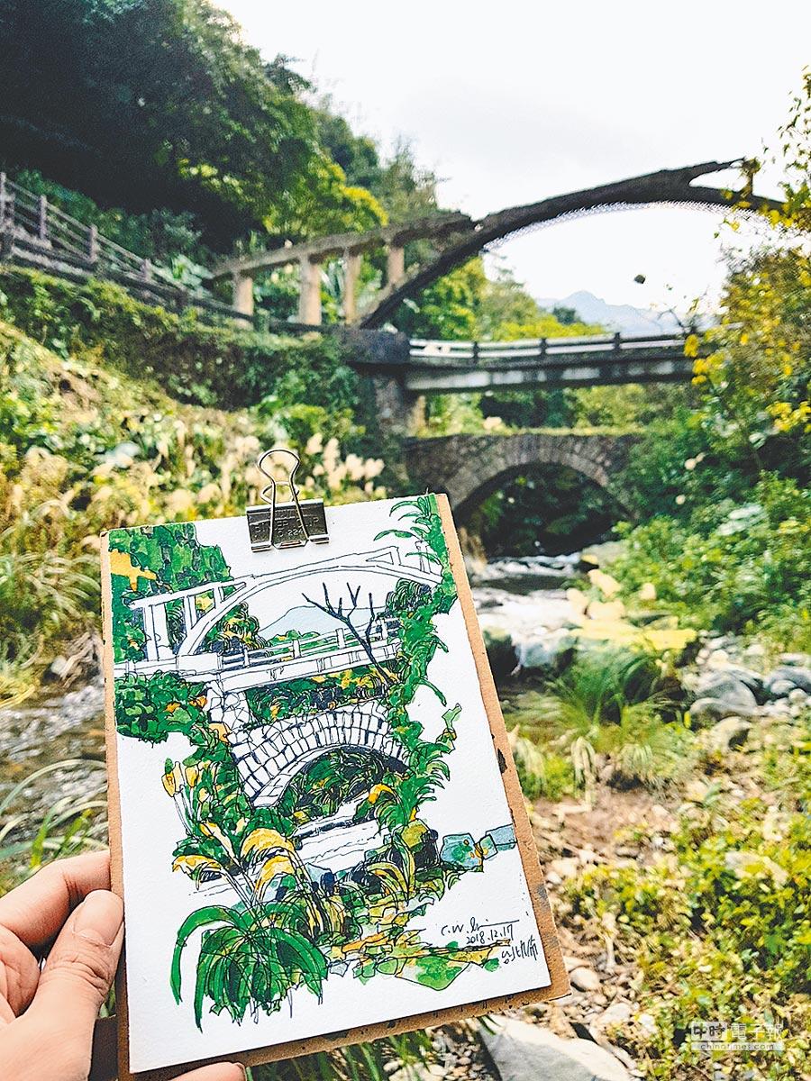 美感創作課程「山城風景速寫」,以獨有的水彩筆法,畫出礦山景致。(½藝術蝦提供)