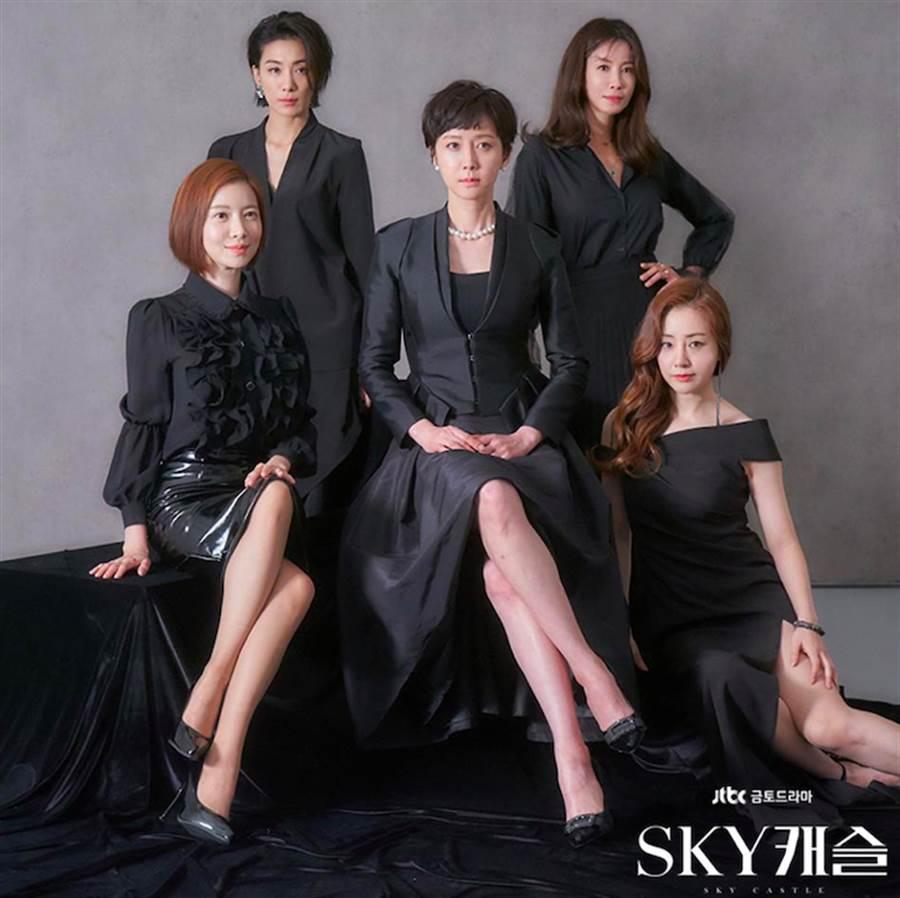 廉晶雅(中)、尹世雅(左一)、金瑞亨(左二)、李泰蘭(右二)、吳娜拉(右一)主演的《SKY castle》在韓收視率突破22.3%。(圖/翻攝自JTBC Drama)
