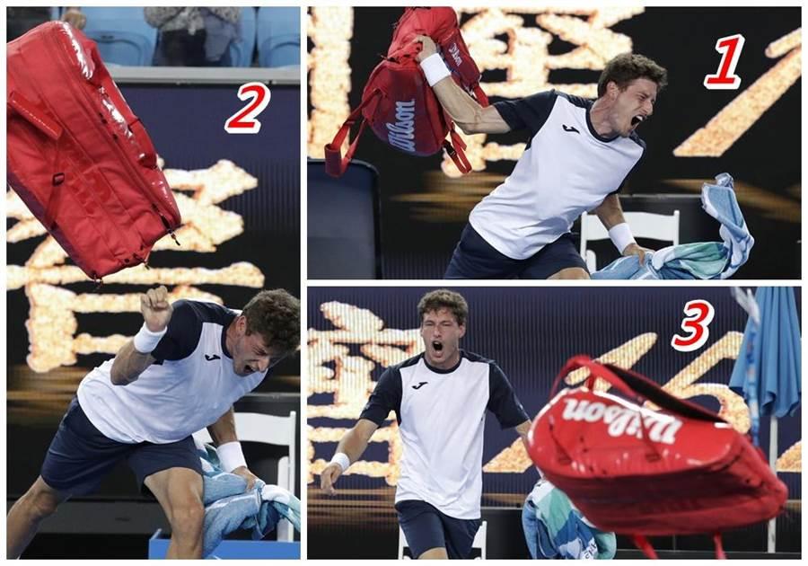 西班牙選手布斯塔因為關鍵爭議判決掉分,也因此兵敗如山倒地輸了比賽,因此怒砸球袋洩氣。(美聯社)