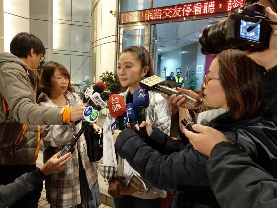 應曉薇表示鄭惠中認為打人是不對的,希望向部長親自道歉。(陳鴻偉攝)
