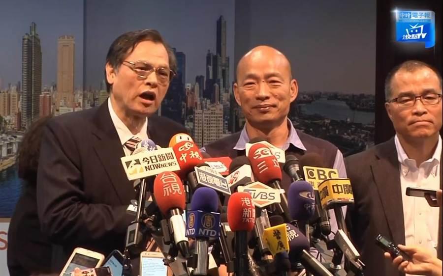 陸委會主委陳明通(左)、高雄市長韓國瑜(右)。(圖/取自中時電子報直播)