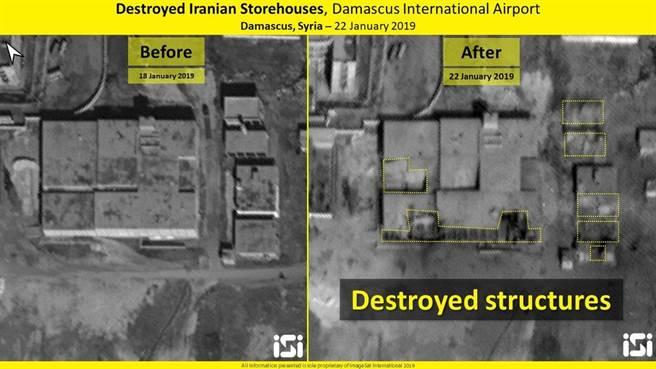 以色列公布的F-16戰機轟炸大馬士革機場倉庫的衛星圖片,圖左為轟炸前,圖右為轟炸後與標識出的轟炸點。(圖/推特@ImageSatIntl)