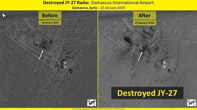 設於敘利亞大馬士革機場旁的中國製JY-27預警雷達也一併被以軍炸毀,圖左為轟炸前,圖右為轟炸後。(圖/推特@ImageSatIntl)