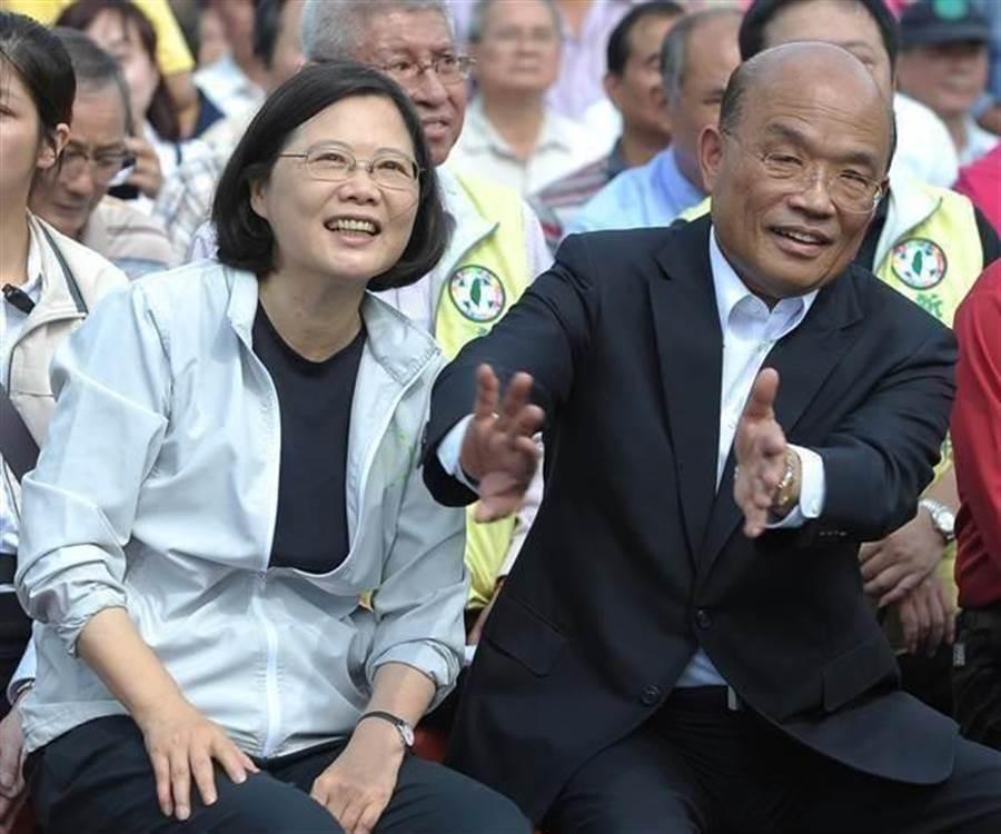 圖為總統蔡英文(左)、行政院長蘇貞昌(右)。(圖/中時資料照)