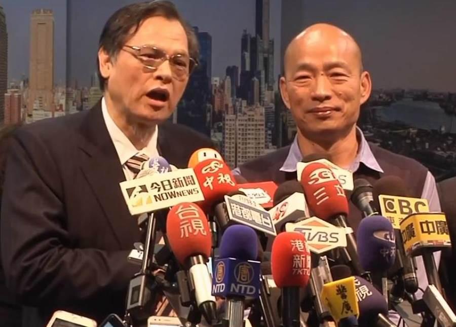 陸委會陳明通(左)、高雄市長韓國瑜(右)。(圖/本報資料照)