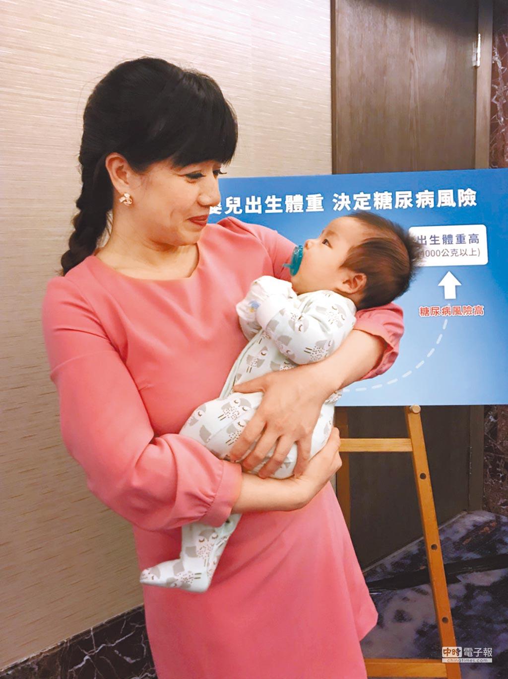 足月嬰兒出生體重太輕或太重,成人後得糖尿病風險為一般人的2.5倍。(鄭郁蓁攝)