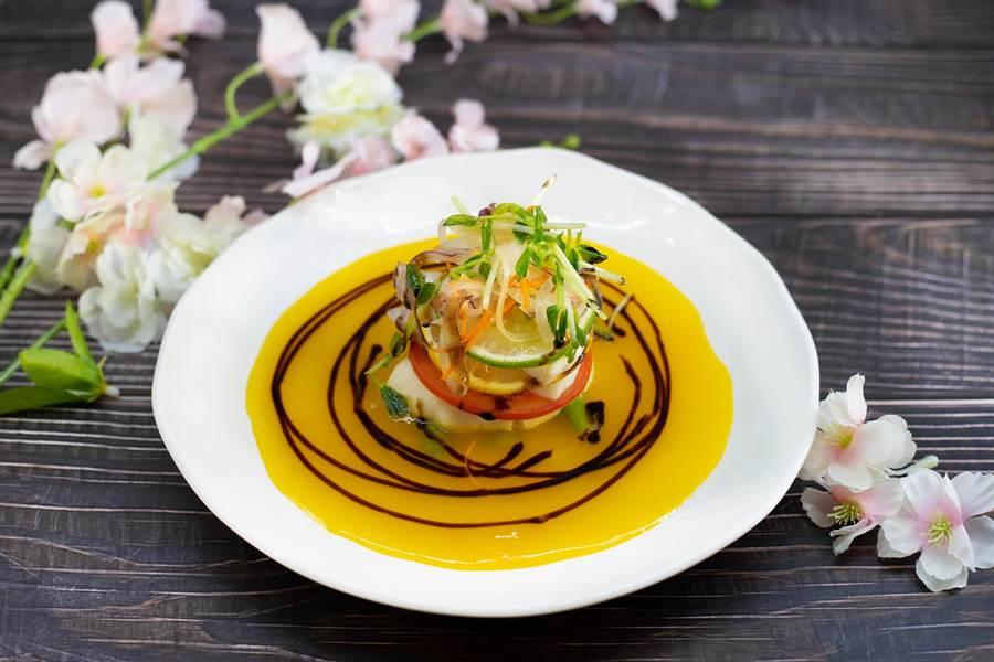 心舞會席-海麗魚菲力塔佐和風橙汁醬。圖:綠舞提供