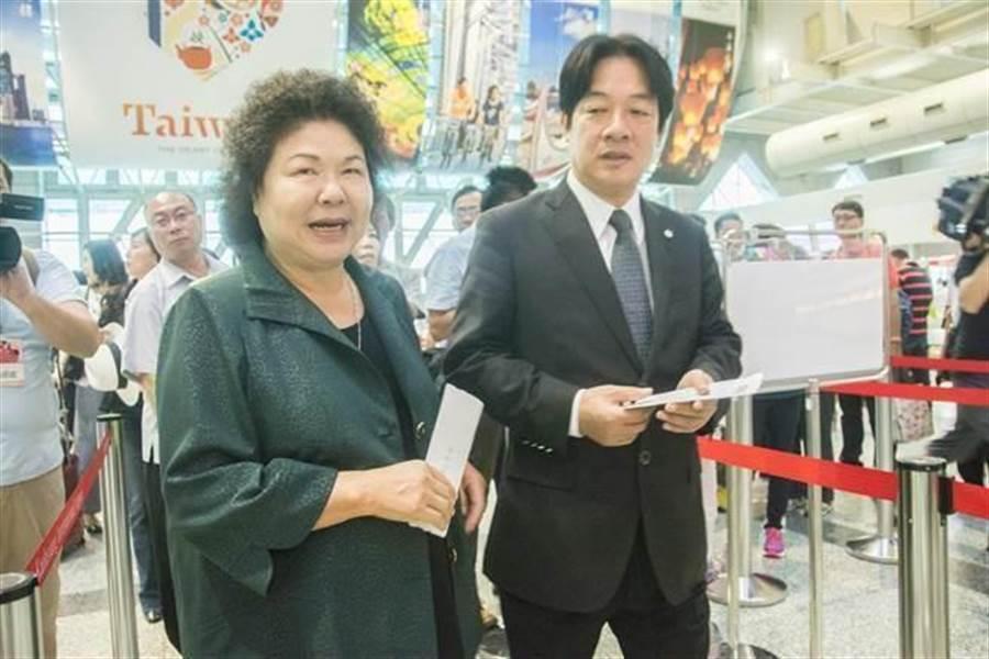 總統府祕書長陳菊(左)、前行政院長賴清德(右)。(圖/中時資料照)