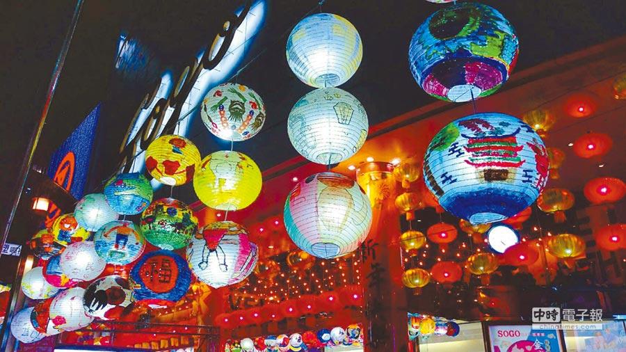 台南普濟殿彩繪花燈是元宵打卡熱點,28日至2月17日移師SOGO台北店3館,千盞彩繪花燈高掛營造年味。(SOGO提供)