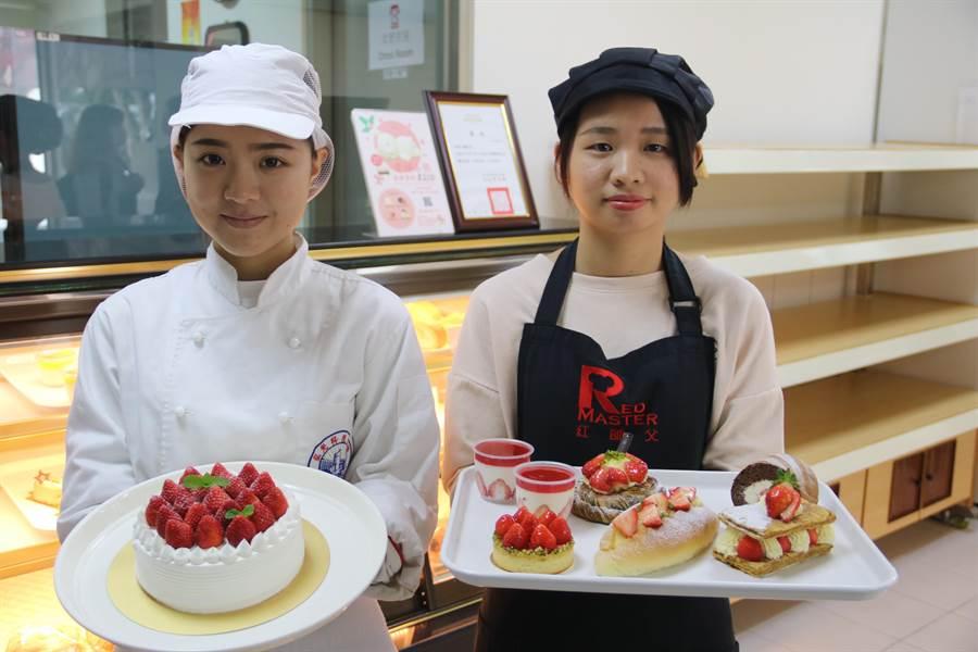 弘光科技大學烘焙食品實習工廠「紅師父」推出少女系夢幻甜點,每天採買新鮮草莓,限量製作。(王文吉攝)